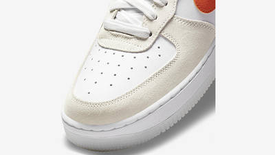 Nike Air Force 1 Low First Use White Orange DA8302-101 Front Detail
