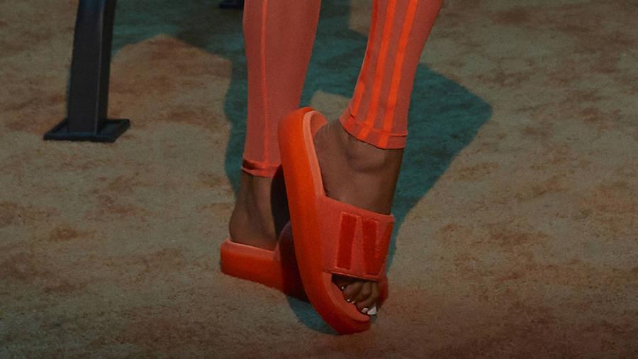 adidas x IVY PARK Slides Solar Orange GX1196 on Foot