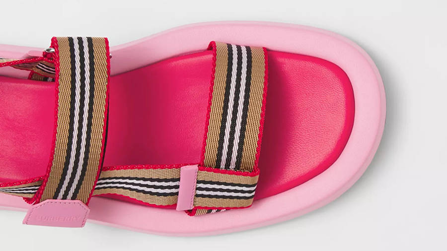 Burberry Icon Stripe Strap Leather Sandals Candy Pink 80426751 Detail