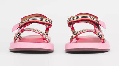 Burberry Icon Stripe Strap Leather Sandals Candy Pink 80426751 Front