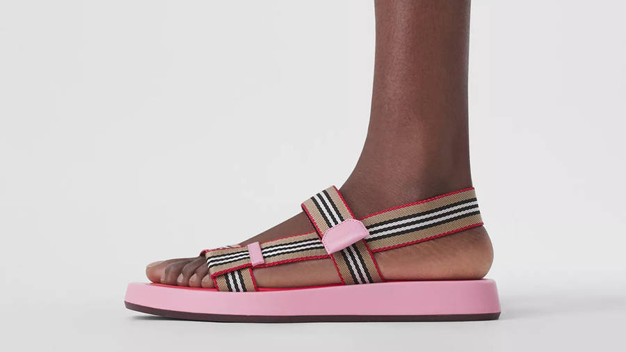 Burberry Icon Stripe Strap Leather Sandals Candy Pink 80426751 on Foot