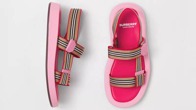 Burberry Icon Stripe Strap Leather Sandals Candy Pink 80426751 Top