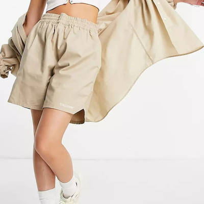 COLLUSION Nylon Shorts Beige Front