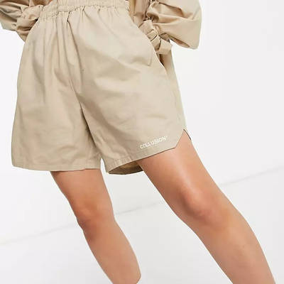 COLLUSION Nylon Shorts Beige