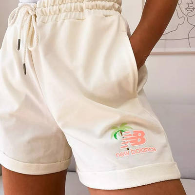 New Balance Palm Tree Boxer Shorts Cream Detail