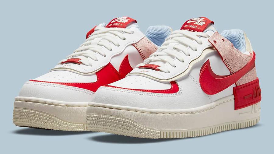 Nike air force 1 womens shoe Shadow White Red Beige CI0919-108 Side