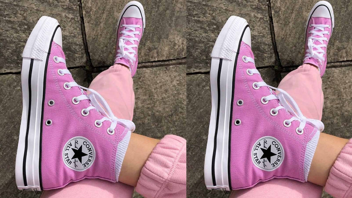 pink converse feature