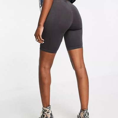 Topshop Washed Legging Shorts Black Back